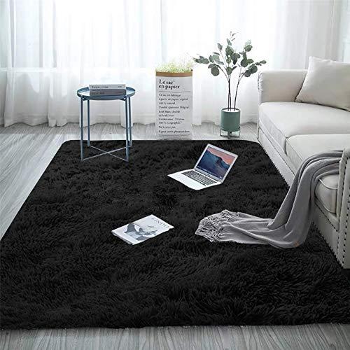 Aujelly Soft Area Rug Schlafzimmer Shaggy Teppich Zottige Teppiche Flauschige Bunte Batik-Teppiche Carpet Neu Schwarz 120 x 200 cm