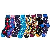 TRIWORIAE - Pack de 8 Paires de Chaussettes Colorées Fantaisie pour Hommes Coton Peigné 41-46EU
