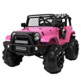 JOYMOR Ride on Truck, Extra Wider Seat Kids Car w/ 2.4G Parental Remote Control, 12V Kids Electric Motorized Toddler Truck Toy, Adjustable Speeds, MP3 Player, LED, Horn (Pink)