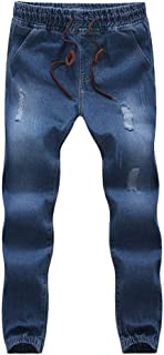 LUKEEXIN Men Biker Joggers Large Size Hole Drawstring Pants Cotton Stretch Jeans Slim Fit Denim Trousers Casual Jeans