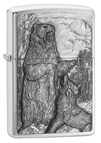 Zippo Unisex\'s Bear Vs Wolf Sturmfeuerzeug, gebürstetes Chrom, Einheitsgröße