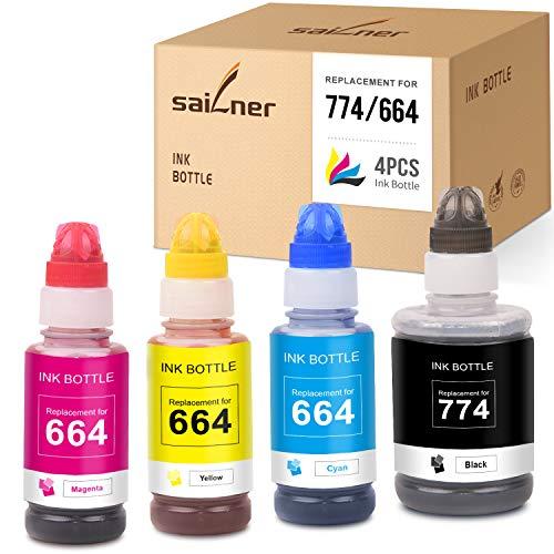 SAILNER Compatible Ink Bottle Replacement for 774 664 T774 T664 use with Epson Expression ET-2550 ET-2650 ET-2600 Workforce ET-4550 ET-16500 ET-4500 (Black, Cyan, Magenta, Yellow, 4 Pack)