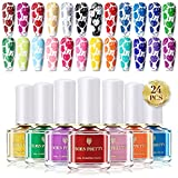 BORN PRETTY 6 ml Juego de esmaltes de uñas en 24 colores con tonalidades caramelos distintos para manicura estampada