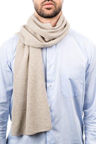 DALLE PIANE CASHMERE - Sciarpa a righe 100% cashmere - Uomo, Colore: Beige, Taglia unica