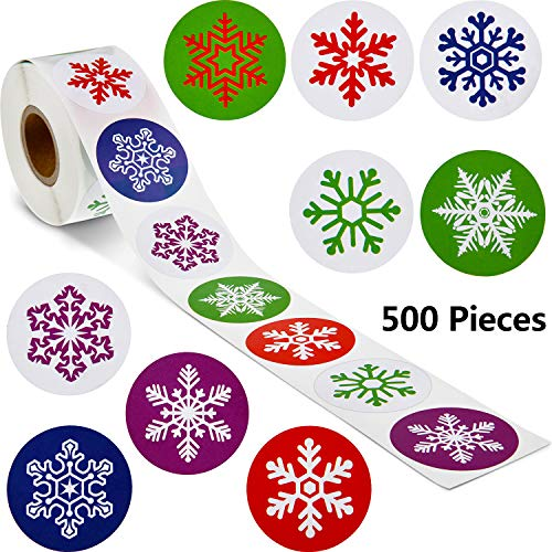 Snowflake Label Stickers Happy New Year Stickers Thank You Seal Stickers Valentine's Day Stickers Inspirational Quote Stickers (Colorful Snowflakes, 500 Pieces)