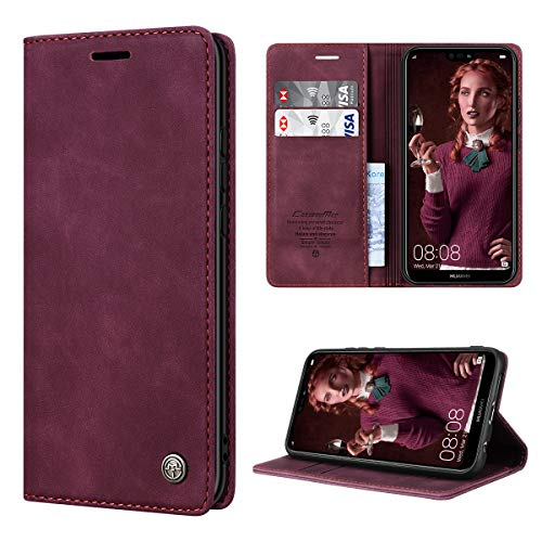 RuiPower Handyhülle für Huawei P20 Lite Hülle Premium Leder PU Flip Case Magnetisch Klapphülle Wallet Lederhülle Silikon Bumper Schutzhülle für Huawei P20 Lite Tasche - Wein Rot