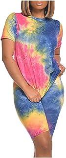 Women Summer Bodycon Dress, Ladies Home Tie-dye Printed Short Sleeve Mini Short Dresses