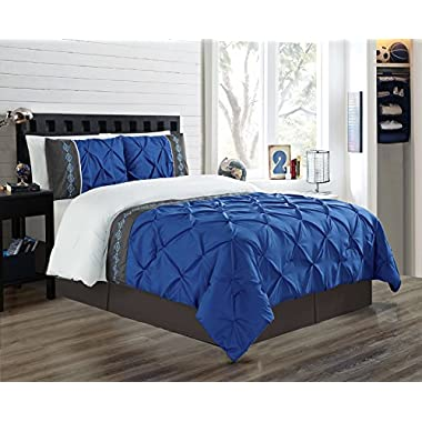 3 Piece KING size Royal Blue / Grey / White Double-Needle Stitch Puckered Pinch Pleat All-Season Bedding-Goose Down Alternative Embroidered Comforter Set