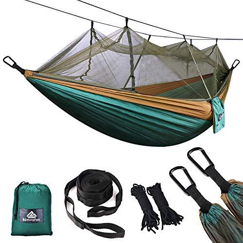 NATUREFUN Mosquitero Hamaca Ultra Ligera para Viaje y Camping | 300kg de Capacidad de Carga,Transpirable, Nylon de Paracaídas de Secado Rápido | 2 x Mosquetones Premium,4 x Correas de Nylon Incluidas