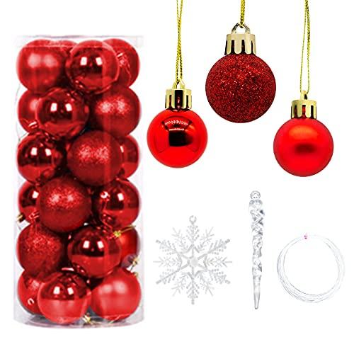 Modloan Set di Decorazioni per L'albero di Natale, Decorazioni Natalizie, Incluse 24 Palle di Natale + 12 Pezzi di Ornamenti di Fiocchi di Neve + 12 Pezzi di Ciondolo Con Ghiacciolo di Natale + Lenza