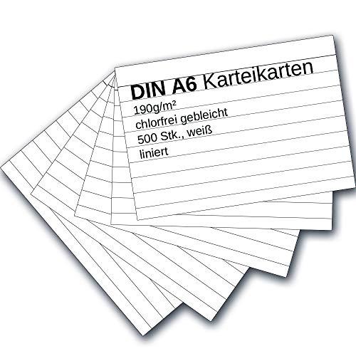 Karteikarten 500 Stück A6 weiß liniert