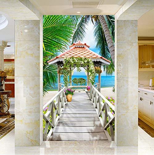 Mznm Aangepaste 3D Foto Behang Zeezicht Houten Paviljoen Kokosnoot Bomen Strand 3D Woonkamer Entree Achtergrond Muur Behang 200 x 140 cm.
