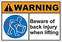 Beware of Back Injury When Lif g 金属板ブリキ看板警告サイン注意サイン表示パネル情報サイン金属安全サイン