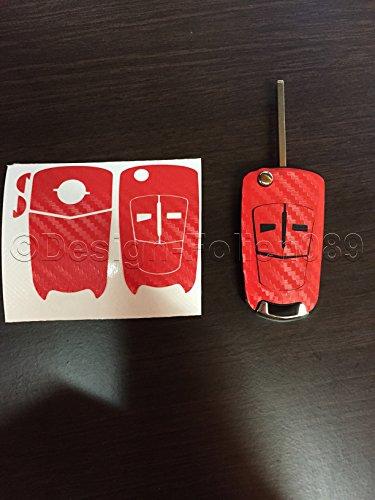 Carbon film de protection d'écran rouge/motif clé clé pour opel astra corsa d h gTC vauxhall vectra b, zafira c vXR oPC tastenschlüssel uvm.. 2 et 3.