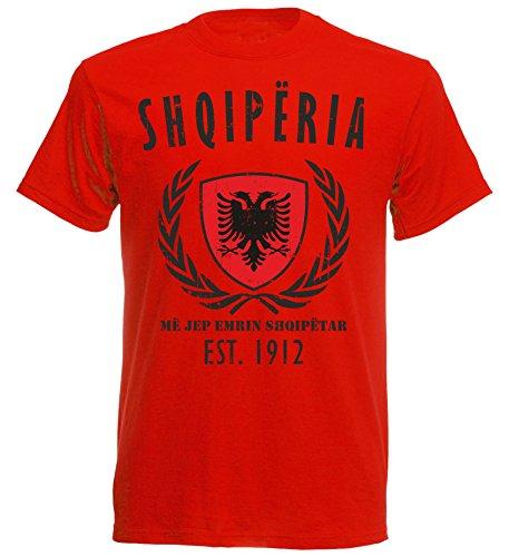 aprom Albanien Albania WM T-Shirt NC-Lorbeer - rot (2XL)