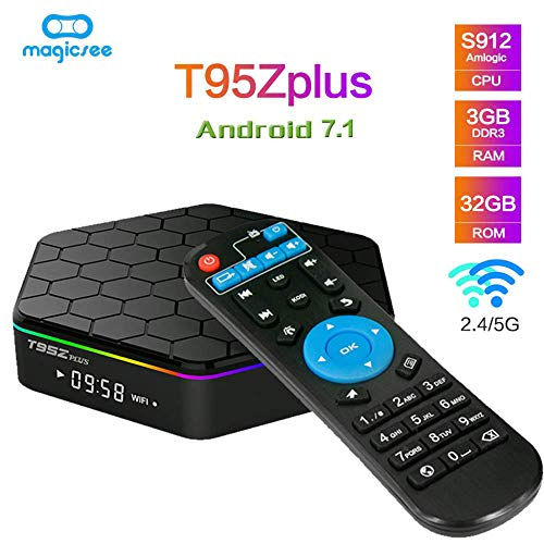 YPSMLYY T95Z Plus Android 7.1 Smart Network TV Box 3GB RAM / 32GB ROM Reproductor De Red Octa Core Amlogic HD Soporte 4K Dual Band WiFi 2.4GHz / 5GHz Bluetooth 4.0