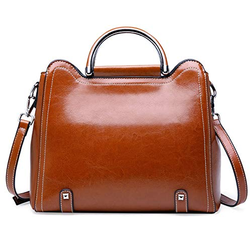 Material---Cowhide and Man-made leather shoulder handbag, work tote and daily female bag.Medium size for easy taking.Zipper closure keeps your essentials in safe while providing smooth experience. Interior Structure---2 Main Zippered compartments.T...