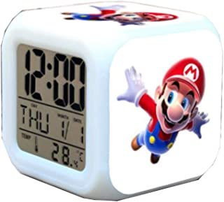 Super Mario Bros Alarm Clock Kids LED Clock Cartoon Night Light Flash 7 Color Changing Digital