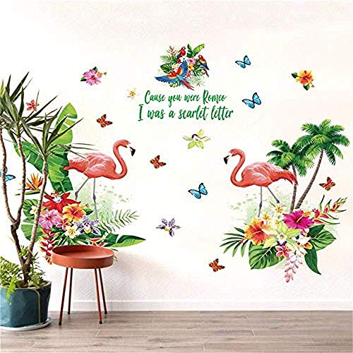 DIY Muursticker PVC Vinyl Cartoon Home Decoratie Roze Flamingo Groen Plant Muursticker Kamer Huisdecoratie Achtergrond PVC Applique Vlakke Wanddeur DIY Behang top