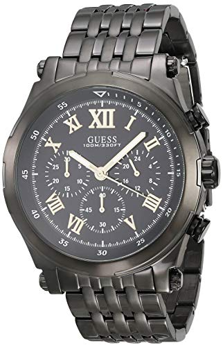 GUESS Heren Classic 46mm Zwart Staal Armband & Kwarts Horloge W1104G2