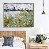 Flores cerca, Monet foto cartel de pared impresión lienzo pintura caligrafía decoración imagen sala de estar hogar decoración sin marco lienzo pintura Z55 60x80cm