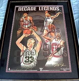Michael Jordan Wilt Chamberlain Bird Dr J signed Decade Legends litho FRAMED - Upper Deck Certified - Autographed NBA Art