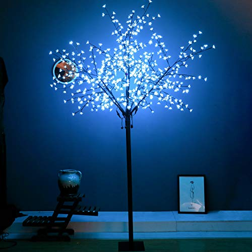 Snokip 8Ft 600 LED Lighted Cherry Blossom Tree, Decorate Home Garden, Wedding, Birthday, Christmas Holiday, Party, for Indoor and Outdoor Use, Light Blue, 1 Pack