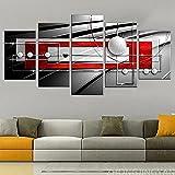 MSKJFD Simetría Moderna Lienzo Rojo Blanco y Negro impresión de Arte de Pared Pintura contemporánea 5 Piezas de decoración Cuadro Listo para Colgar en casa