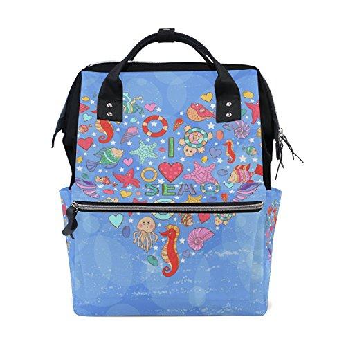 COOSUN Ik hou van zee de vorm van hart op blauwe bellen luier veranderen tas luier rugzak met geïsoleerde zakken wandelwagen banden, grote capaciteit multifunctionele stijlvolle luier tas voor mama papa outdoor
