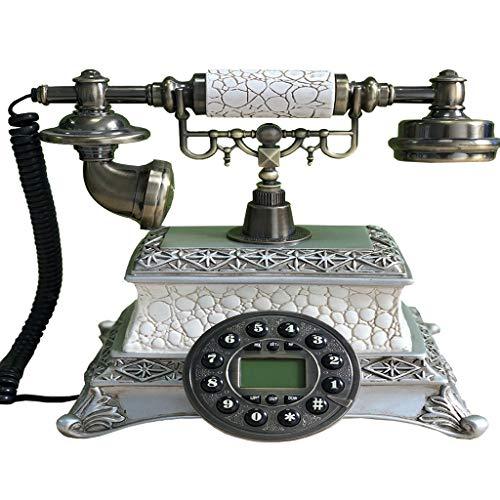 VERDELZ TeléFono Retro Vintage Resina Metal BotóN Dial Hogar Hotel DecoracióN TeléFono Antiguo TeléFono Fijo