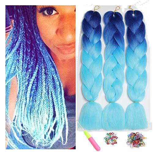 Ombre Jumbo Zöpfe Haar Flechten Haar Kanekalon, ShowJarlly Synthetische Haarverlängerungen 24 Puppe (60 cm) 300g / 3Pcs, (B45#Royal Blue/Sky Blue)