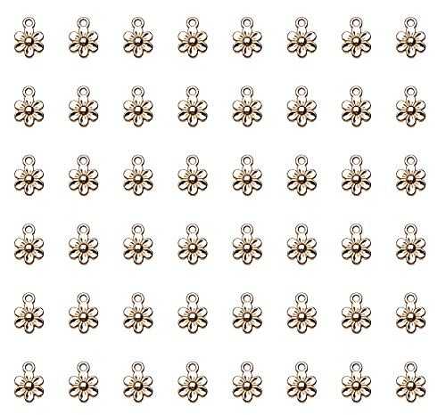 Ruwado 50 Pcs Little Flowers Charms Metal Vintage Cute Vintage Small Flower Pendants for Jewelry Making Kit Bracelet Necklace DIY Making Crafting Project Accessories Supplies (Gold)