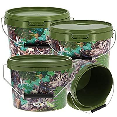 NGT Carp Fishing Angling Round Camo Bait Bucket Set in 2 x 5L and 1x 10L with Lids