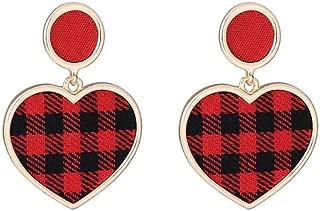 Plaid Heart Shaped Retro Cute Pretty Stud Earrings