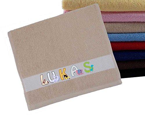 Handtuch PERSONALISIERT Name mit Tieren viele Farben