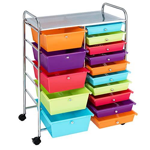 COSTWAY Carrito Auxiliar Almacenamiento con Ruedas Estructura Metálica,Carro Organizador con 15 Cajones Apilables para Cocina Restaurante (Multicolor)