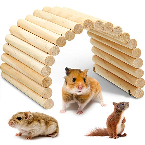 Holzbrücke für Haustiere, biegbar, für Hamster, Ratten, kleine Meerschweinchen und andere ähnlich große Haustiere