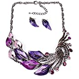 XingBeiBei Fashion Peacock Shape Jewelry Alloy Necklace Earrings Jewelry Sets (Purple)