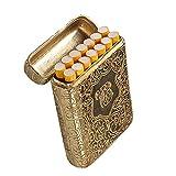 Moda Tres Funda de Cigarrillo de aleación Abierta Peaky Glericeros creativos Caja de Hombres tallados a 3,5 Lados Caja Ultrafina para los Hombres Fumar Niza Regalo (Color : Gold, Size : 14pcs)