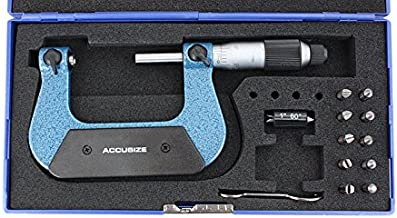 Accusize Industrial Tools 1-2'' X 0.0001'' Screw Thread Micrometer with 5 Anvil in Fitted Box, S916-C751