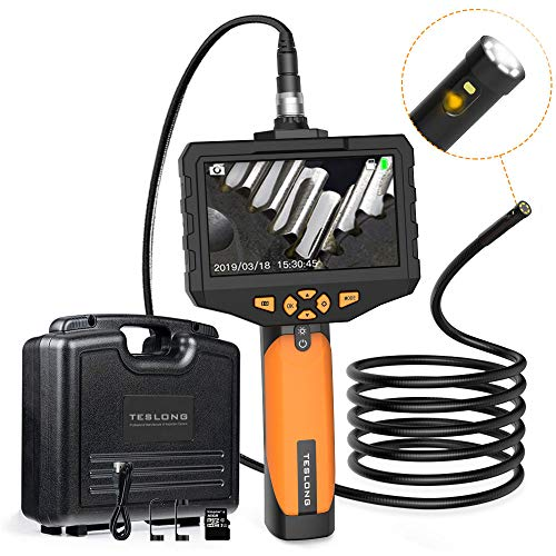Teslong Zwei Linsen Hand Industrie EndoskopKamera 4,5-Zoll-Farb-IPS-Monitor, 1080P Endoskop 8mm Durchmesser IP67 wasserdichte Doppellinse Inspektionskamera, 32G-TF-Karte, Werkzeugkasten (5 M/16,4 ft)