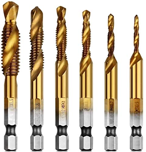 aiyun Titanium Combination Drill & Tap Bit Set - 6 Piece M3-M10 HSS 6542 Drill tap bits