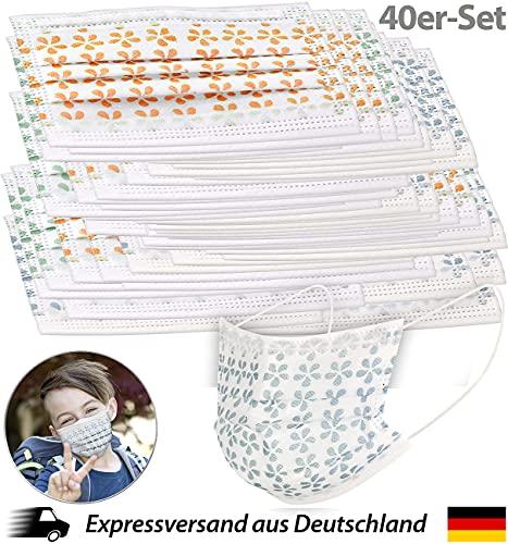 newgen medicals Kindermasken: 40er-Set kleine Mund-Nasen-Masken für Kinder, Ohrschlaufen, gemustert (Kinder Einwegmasken)
