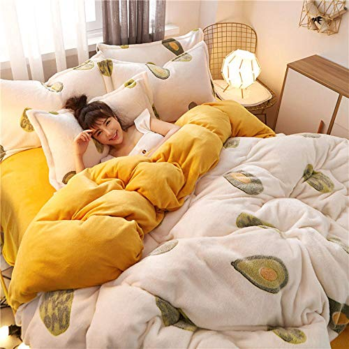 geek cook Flannel winter warm bed linen,Four-piece plush double-sided fleece Three-piece warmth cute Flannel Four-piece snow fleece-fruit_1.2m three-piece suit