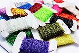 Tigofly 24 Karten 10 m Karte Lametta Chenille Crystal Flash Line Nymphe Luftschlangen Kder Herstellung von Fliegenbinden Material