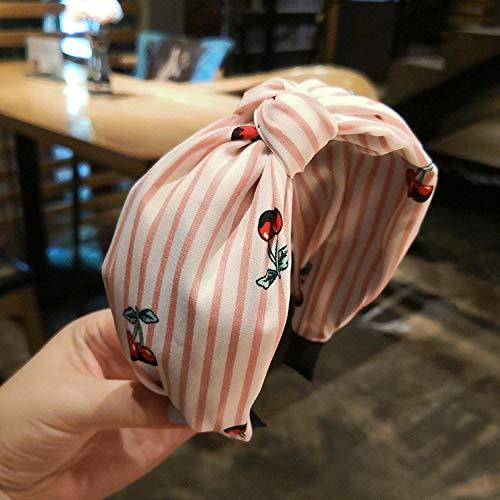 Accessoires pour cheveux Rafraîchissant tissu rayé cerise d'été large bord noué épingle à cheveux épingle à cheveux-rayures roses