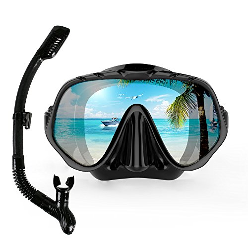 COPOZZ Snorkel Mask, Snorkeling Scuba Dive Glasses, Free Diving Tempered Glass Goggles - Optional Dry Snorkel with Comfortable Mouthpiece (4100-Black Set)