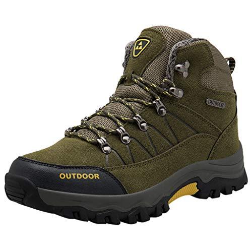 Chaussures pour Hommes de Randonnée Imperméables Outdoor Plus Velvet Trekking Jogging à Lacets Alpinisme Sneakers (41, armée Verte)