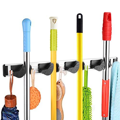 Mopp und Besen Halter Wand montiert Rack Kleiderbügel Kehrbürste Organizer mit für Schrank Rechen Garten Sportgeräte Garage Lagerung für Regale(4 Position 5 Hooks)