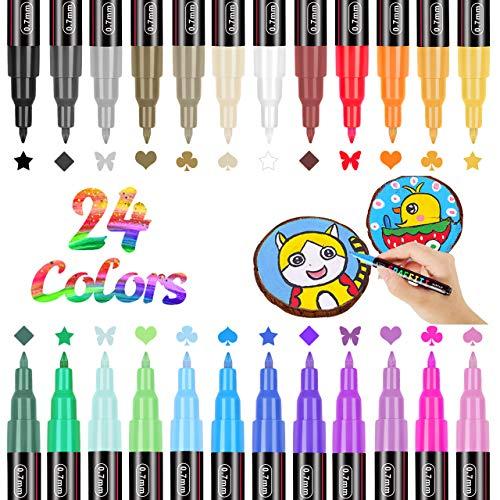 RATEL Acrylstifte Marker Stifte, 24 Farben Premium Wasserfest Paint Marker Set Wasserfest Permanent Art Filzstift Acrylic Painter für DIY Stein, Leinwand, Papier, Glasmalerei, Metall-0.7 mm Spitze